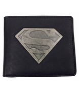 DC Comics - Mens Black Superhero Superman Logo PU Faux Leather Bifold Wa... - $9.99