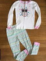 * Childrens Place pink blue owl pajamas long sleeve set pj jammies size 8 - $7.89