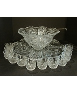 Vintage EAPG McKee Glass Punch Bowl Set Wiltec w Underplate ca .1905 - $450.00