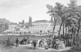 GERMANY Spas in baden baden - 1860 Antique Print Engraving - $16.83