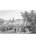 GERMANY Spas in baden baden - 1860 Antique Print Engraving - $16.83