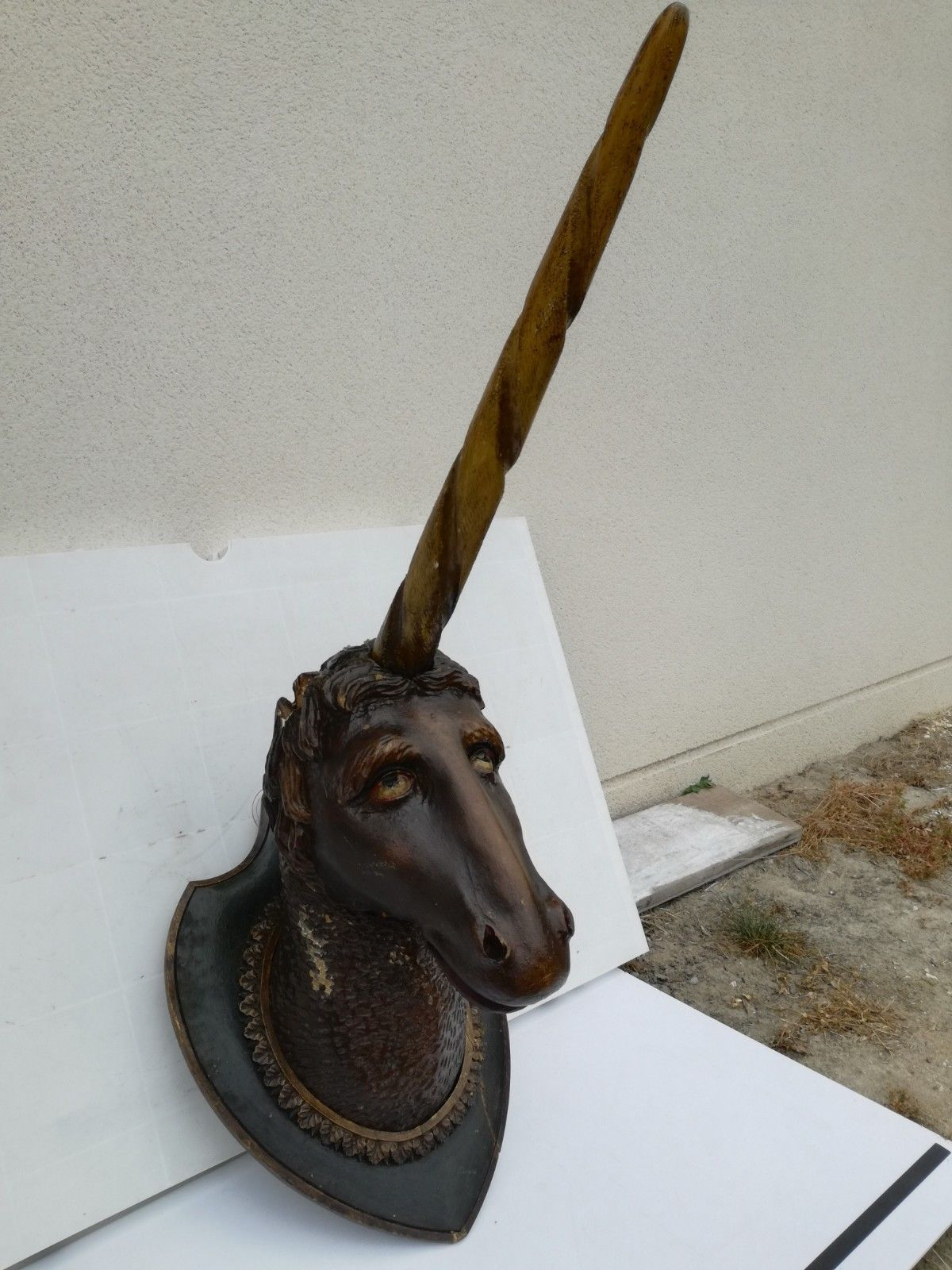 Imposante Unicorn wood sculpture carved Antique 1900 German Black Forest RARE ! image 3