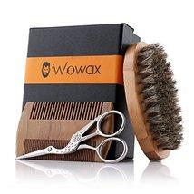 Wowax Beard Brush and Comb Set for Men - Bamboo Boar Bristle Beard Brush, Wood B image 2