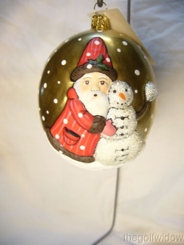 Vaillancourt Folk Art Santa on Gold Jingle Ball with Snowman