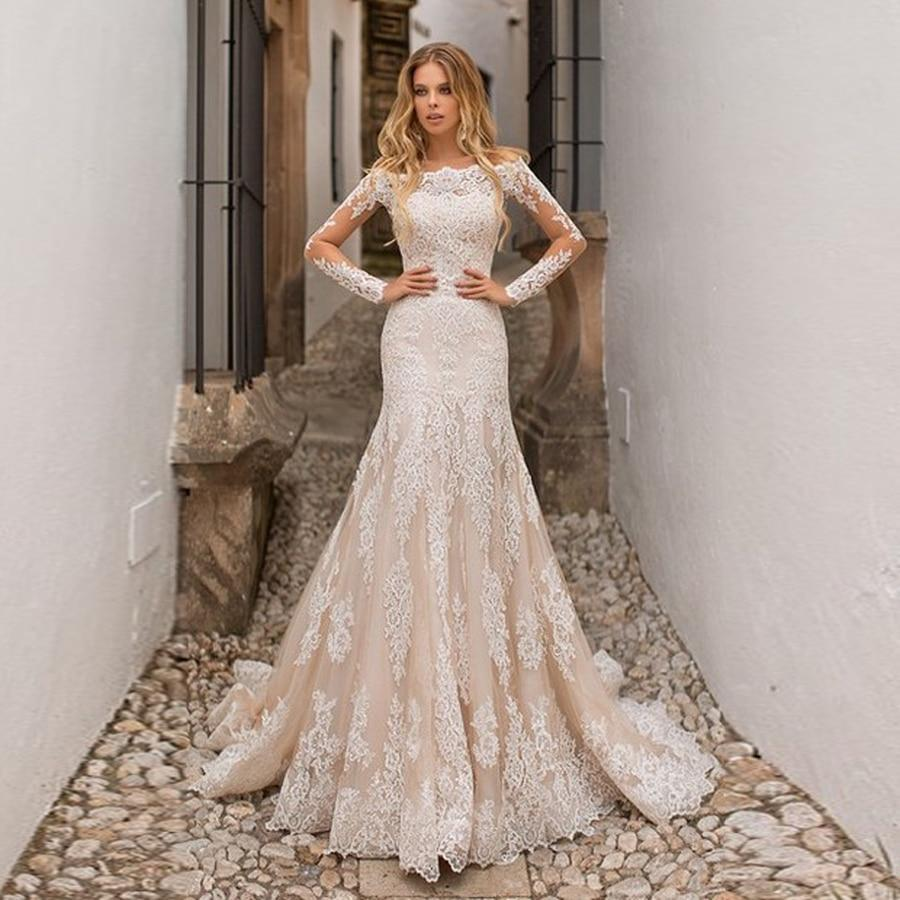 Hampnage expensive fully lace applique mermaid wedding dress long sleeves champagne bridal gowns