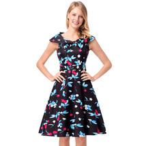 AOVEI Blue Cherry Print 50s Sailor Collar A Line Flared Pleated Swing Dress - $24.99
