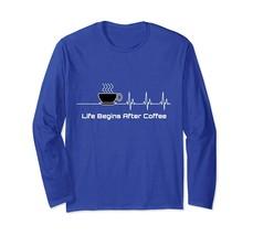 New Shirts - Life Begins After Coffee Heartbeat Long Sleeve T-Shirt Wowen - $19.95+