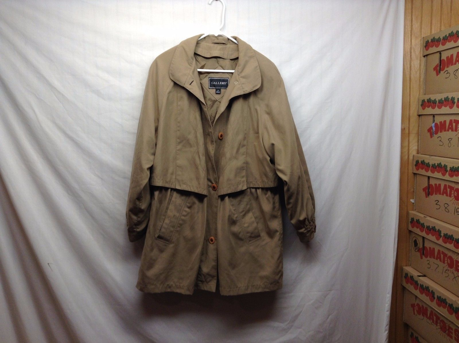 Gallery Tan Taupe Lightweight Raincoat Jacket Sz Medium