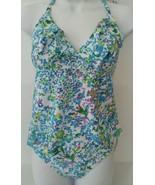 ELLE Swim Set Bikini Bottom Tankini Top Ruffled Floral Multi-Color Size 8 - $19.99