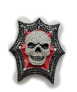 Nuovo Man Grande Fibbia Della Cintura Scheletro Metallo Argento Rosso Nero - $26.44