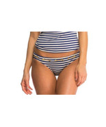 NEW Jessica Simpson Striped Grommet-Tie Swim Bikini Bottom Navy Gold S ... - $13.85