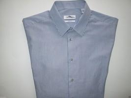 Calvin Klein Straight Pointed Stripes Men's Dress Shirt Blue 16.5 | 35   - $24.22