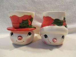 Vintage Lefton Japan Ceramic Christmas Mr & Mrs Snowman Cup Mug Set - $27.95