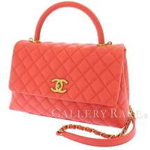 CHANEL Handbag Caviar Leather Salmon Pink CC Logo A92991 Italy Authentic... - $4,464.63