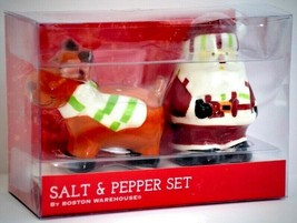 Santa and Reindeer Salt Pepper Shakers Red Boston Warehouse 3 Pc Christm... - $22.72