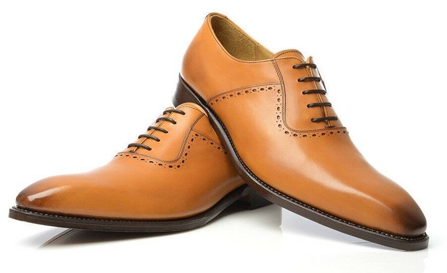 Handmade Men's Tan Leather Dress/Formal Oxford Leather Shoes
