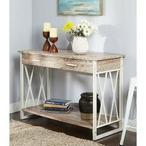 Wood Metal Console Sofa Table Entry 2 Drawer Shelf White Oak Hall Living... - $182.90