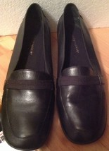 """Easy Spirit Women's 7.5 Loafer Shoes Black Leather Slip On 1"""" Heel - $7.84"""