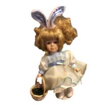 Vintage Porcelain Girl Doll Blue White Bunny Chiffon Long Sleeve Dress B... - $24.74