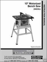 Delta ShopMaster Table Saw Model SM200L  Manual - $10.88