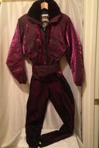 Vintage NILS Womens Iridescent Snow Suit Ski Bunny Purple S/M Faux Fur S... - $83.22