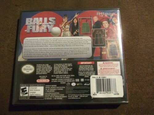 Balls of Fury (Nintendo DS, 2006) Rated E 10+ Extreme Ping Pong Animated NIP