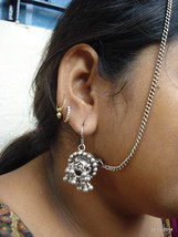 vintage antique tribal old silver ear plug earrings with hair chain bell... - $167.31