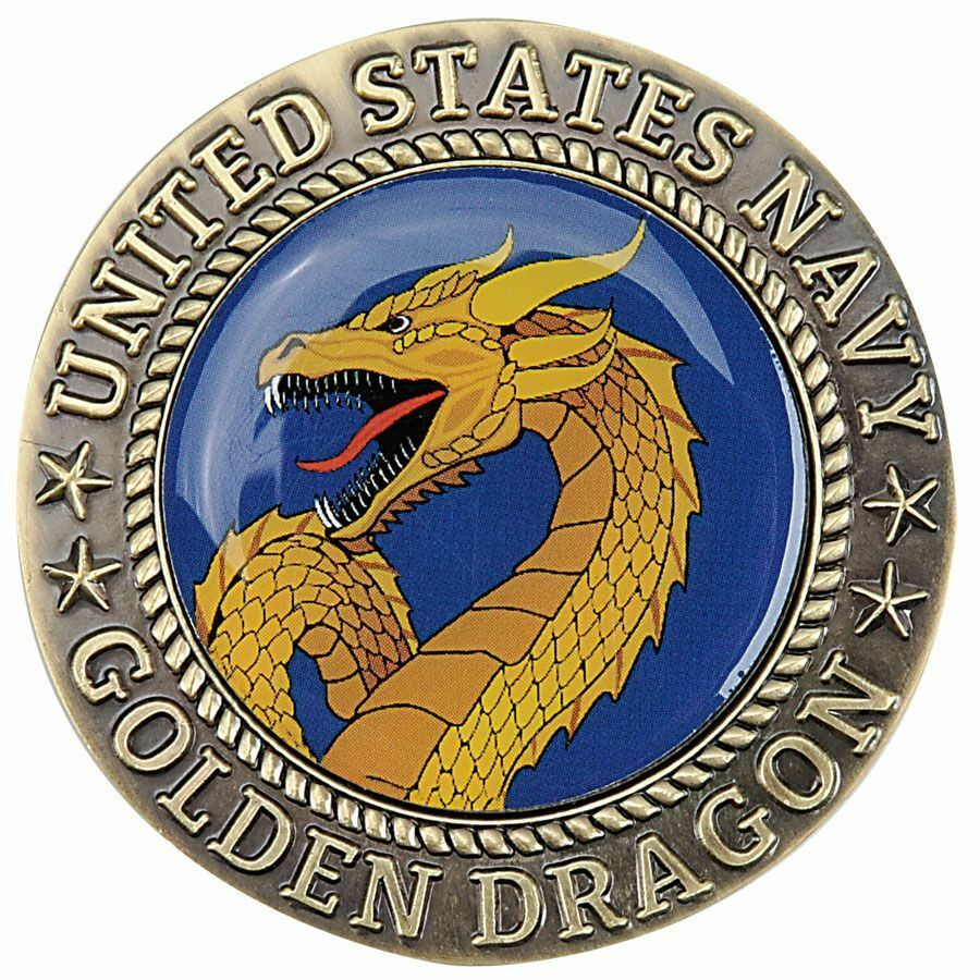 """NAVY DOMAIN OF THE GOLDEN DRAGON CROSSING THE DATELINE 1.75"""" CHALLENGE COIN"""