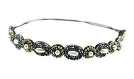 Hand-beaded Crystal Rhinestones Headband Headdress, Navy - €10,99 EUR