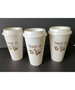 3 Travel Coffee Beverage Tumbler Cups Reuse Recycle Disposable To Go 16o... - $5.99
