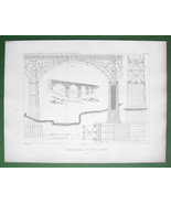 ARCHITECTURE PRINT 1841 : England Timber Arch Bridge over Ouse-burn River - $6.42