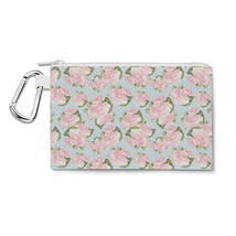 Pink Roses on Blue Polka Dots Canvas Zip Pouch - $15.99+