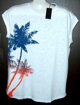 Xios Mens White Palm Design T-Shirt Cotton Sz 2XL  NEW - $13.98