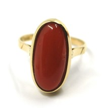 SOLID 18K YELLOW GOLD RING, CABOCHON CENTRAL NATURAL CORAL 18X9mm, MADE IN ITALY image 2