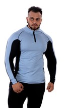 An item in the Sporting Goods category: Zesteez SkyBlue Full Slvs front half Zip Polyester Spandex Lycra Gym Tshirt in S