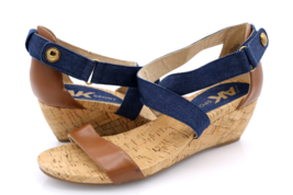 Anne Klein Womens 9.5M Blue Brown Crisscross Textile Wedge Heels Sandals  - $29.99
