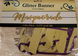 """""""MASQUERADE"""" Gold Glitter Banner  - 12 ft long ! NEW in package. - $4.99"""
