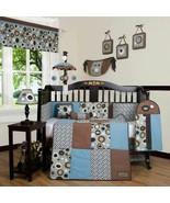 Blue Brown Geometric 13pcs Crib Bedding Set Baby Boy Nursery Quilt Bumpe... - $144.44