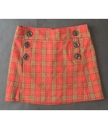Gap Plaid Mini Skirt Size 0 Sailor Buttons Red Yellow Wool Lined Retro Mod - $22.76