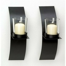 Mod Art Black Metal Wall Sconce Votive Candle Holder 1 pair - $8.14