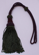 Drapery Tieback Purple Braided Curtain Tie Back with Green Tassels Beads... - $3.97
