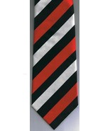 Fabio Fazio Hand Made Necktie Red Black White Stripes 100% Silk - $37.76
