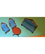 Mattel Doll House  Sofa Blue , 2 Chairs & table - Livingroom Miniature 1980 - $28.95