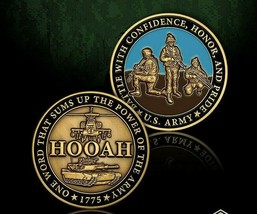 "ONE WORD THAT SUMS UP THE POWER OF THE ARMY HOOAH 1.75"" CHALLENGE COIN - $18.04"