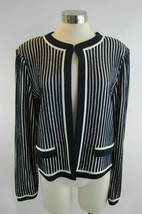 L ST JOHN Navy Bright White Striped Open Front Cardigan Jacket NWT - $356.39