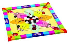 Kids small Carrom Board Game Wooden + acrylic Coins + Striker carromboar... - $41.58