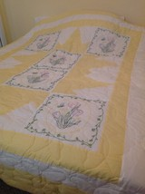 Embroidered tulip quilt in king size - $200.00