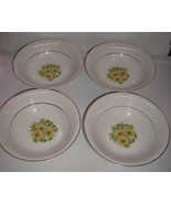 """Staffordshire England SUMMERTIME Coupe Cereal Bowls 6.5"""" Daisies-Gold Trim - $24.99"""
