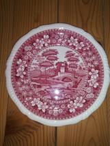 "7 3/4"" Salad Plate Copeland England Cranberry Red Spode Tower - $12.82"