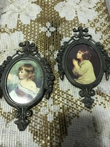 Vintage Gunmetal Frame Little Girl Prints Small Oval Wall Hangings Made ... - $10.00